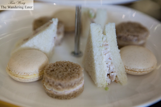 Tea sandwiches and macarons