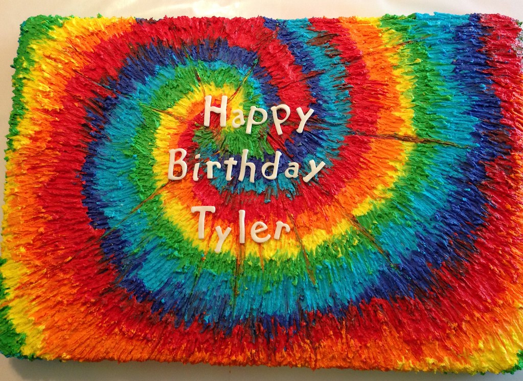 Pleasant Rainbow Tie Dye Birthday Cake Single Layer Sheet Cake Serv Flickr Personalised Birthday Cards Paralily Jamesorg