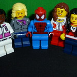 #outnumbered with Harris Faulkner, Sandra Smith, Jedediah Bila, Andrea Tantaros, & Spider-Man is #oneluckyguy #Lego #Minifigures #Legominifigures