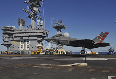 An F-35C Lightening II carrier variant Joint Strike Fighter conducts its first arrested landing aboard the aircraft carrier USS Nimitz (CVN 68). (U.S. Navy/MC3 Kelly M. Agee)