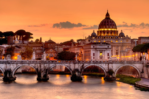 city bridge sunset italy vatican rome roma church skyline photoshop europa europe tiber tevere hdr vaticancity saintpeter photomatix tonemap