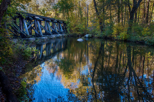 trestle bridge blue usa stpeters color reflection tree texture nature water america creek photoshop landscape photography nikon unitedstates pennsylvania structures pa northamerica lightroom chestercounty frenchcreek d90 stpetersvillage nikond90 lr5 pse12 photoshopelements12