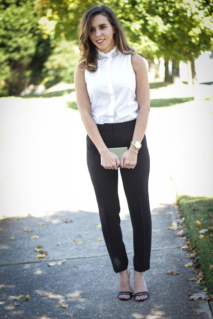 8d6c2e2f11 ... dressy style. date night outfit. black pants. tibi strappy heels.  jeweled collar