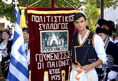 Greece, Macedonia, Florina, Sitaria village, pan-macedonian gathering,  teen boy with greek flag and club-banner from Goumenissa