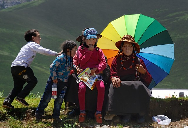 She is asking herself why these foreigners take a photo, Tibet 2014