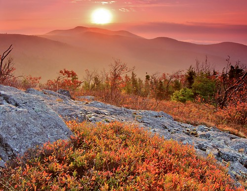 new autumn trees mist mountain mountains fall sunrise haze october mt oct nh hampshire mount roberts shrub hazy range shrubs 2014 ossipee