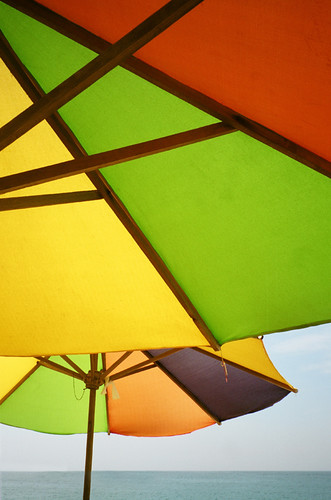 Bright Beach Umbrellas in Barra de Navidad