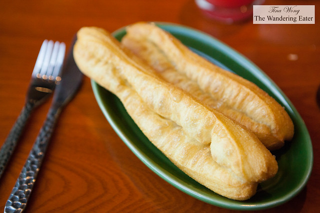 Freshly fried Chinese cruller or youtiao (油條) at Made in China's breakfast buffet