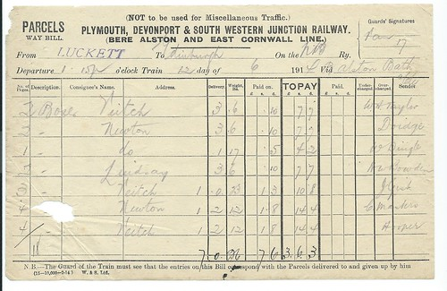 Plymouth, Devonport and South Western Junction waybill 1914 | by ian.dinmore