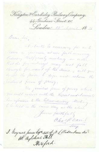 Kington & Eardisley Railway letterhead 1881 | by ian.dinmore