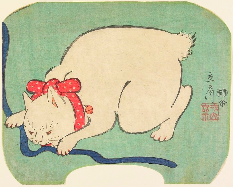 Hiroshege II (1826-1869) - 1863 White Cat Playing With String (Minneapolis Institute of Art, USA)