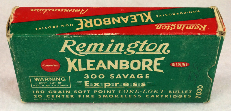 RD14570 Vintage Remington Kleanbore 300 Savage Express 180 Gr. Soft Point Ammo Box with 20 Empty Brass Casings DSC06992