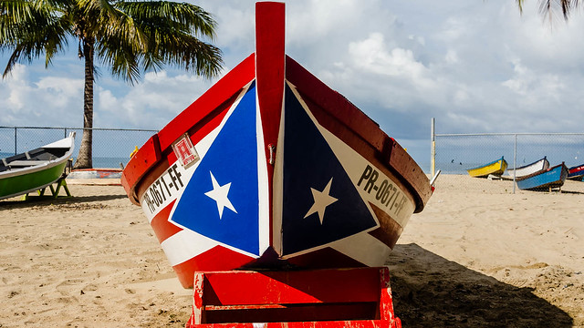 Colorful boat at Crashboat beach in Aguadilla, P.R.