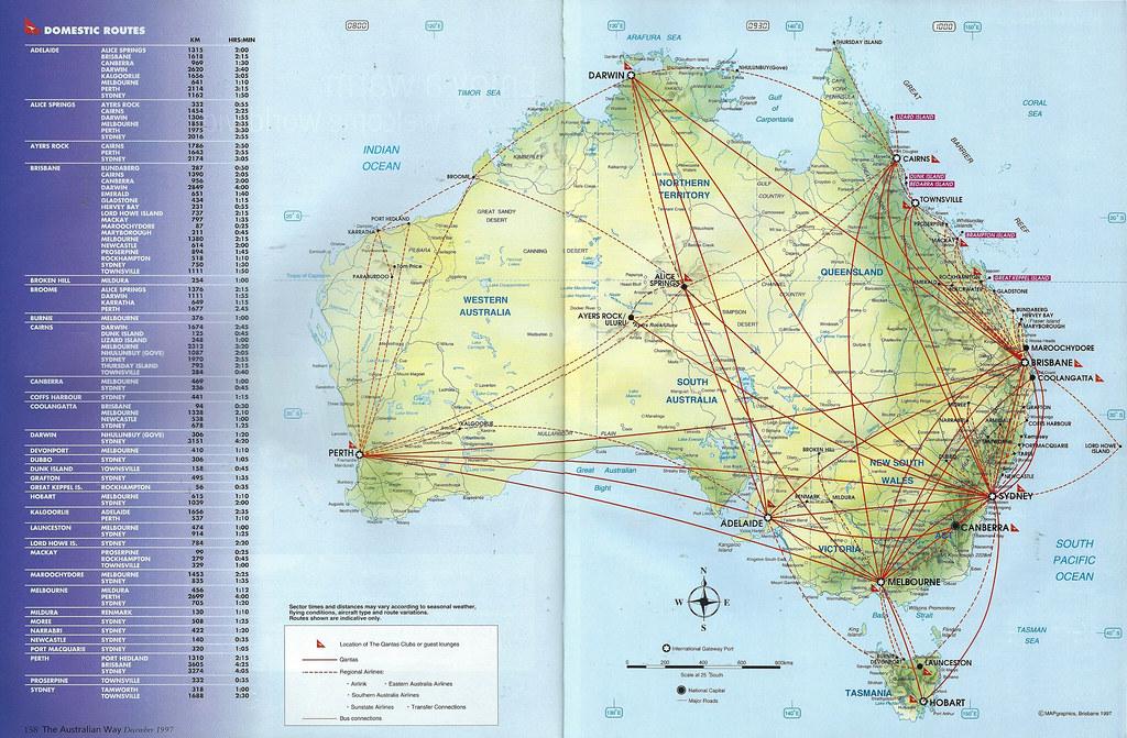 Qantas domestic route map, December 1997 | Qantas Airways do ... on nok air route map, direct air route map, maldives air route map, thai route map, air canada route map, delta route map, cathay pacific route map, island air route map, tap air portugal route map, tiger air route map, lot polish route map, air niugini route map, ba cityflyer route map, independence air route map, lan ecuador route map, key lime air route map, dragonair route map, biman route map, qatar airways route map,