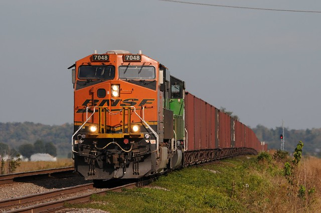 A visitor to the Chester Sub, this BNSF ore train will soon diverge to its home rails at Rock View Junction , Rock View Missouri