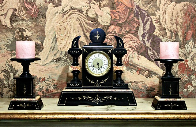antique marble clock with matching candle holders