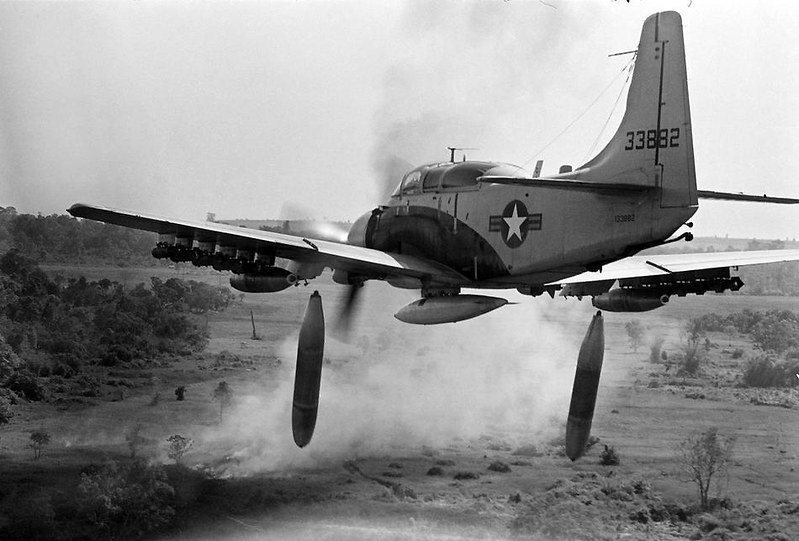 A-1 Skyraider drops 500-pound bombs