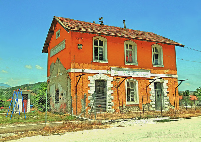 Greece, Macedonia, Serres regional unit, Aggista village, the old train and police station