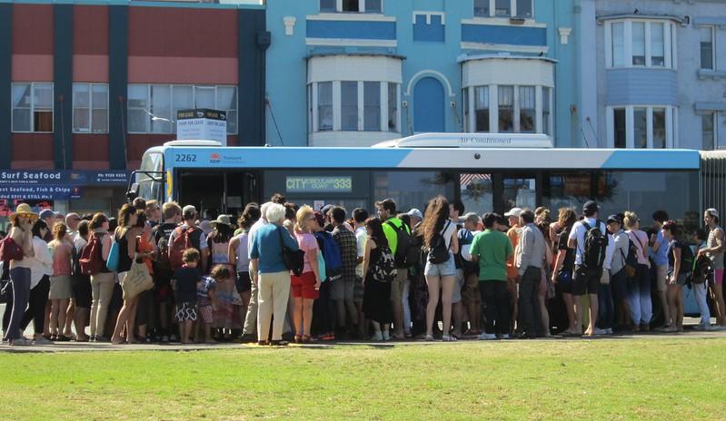 Bondi Beach: Queue for bus back to Bondi Junction and Sydney city