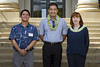 UH Manoa nursing program Dean Mary Boland with staff and student veteran scholarship recipient