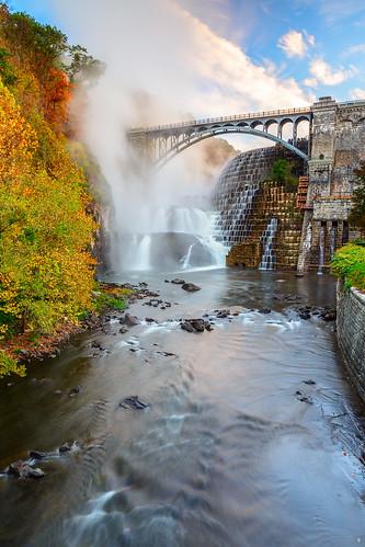 blue sky newyork fall water clouds sunrise waterfall dam falls crotondam crotongorgepark