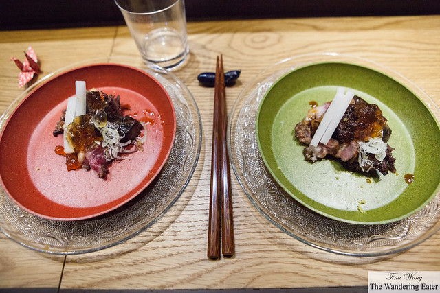 Our plates of tuna cheek with rib