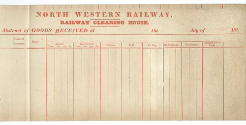 North Western Railway blank abstract of goods received 1850   by ian.dinmore