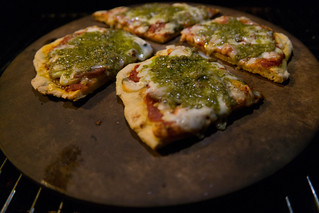 Pesto Pizza on a Pizza Stone on a Weber Grill | by nan palmero
