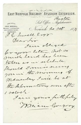 East Norfolk Railway - Aylsham Extension letterhead 1879 | by ian.dinmore