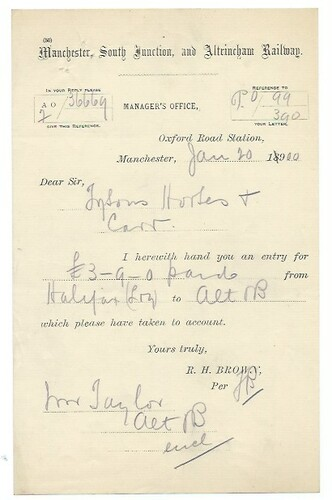 Manchester, South Junction and Altricham Raiway letterhead 1900 | by ian.dinmore