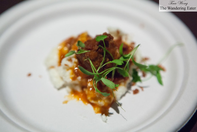 Pork shoulder, grits, smoked paprika and onion by The Monarch Room
