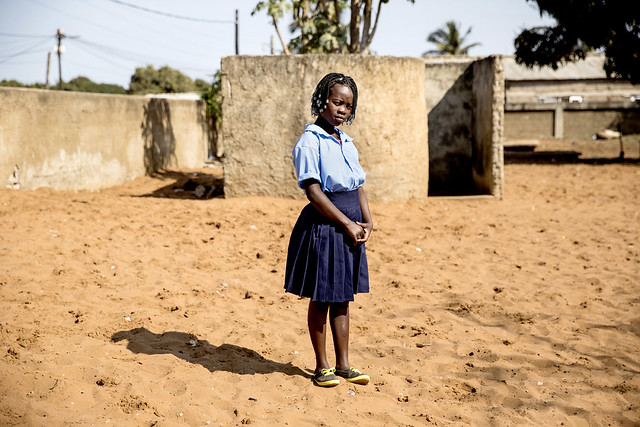 """Luria, 12, is a Grade 7 pupil at Maguiguana Primary School in the Maxaquene Bairro of Maputo. Her parents live in a town in the countryside. Luria was sent to Maputo to live with her uncle so that she could attend school there.<br /> <br /> """"I try not to use the toilet at school. It's really bad."""" James Oatway, Panos Pictures for WSUP."""