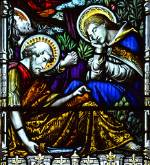 St Andrew, St Peter and St John asleep at Gethsemane by AL Moore for Powell & Sons, 1899