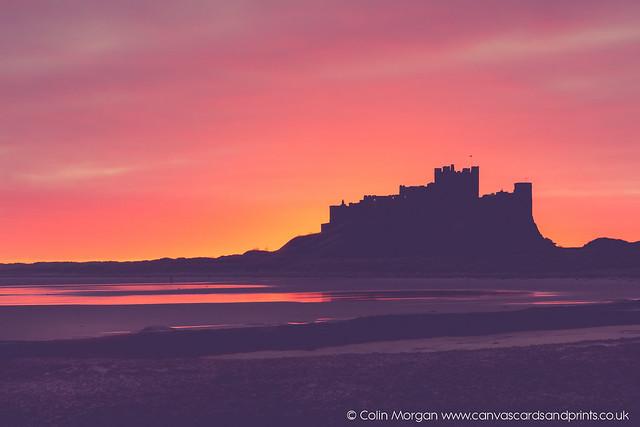Bamburgh Castle Sunrise Silhouette