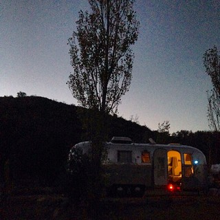 Home for the next two nights. Julian, CA. #airstream #airstreamdc2cali #chevrolet #vintageairstream #vintage #1964 #overlander