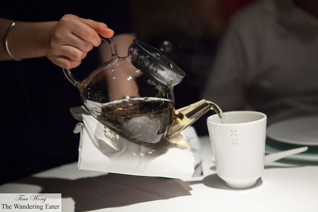 Pouring our Iron Goddess Oolong Tea (鐵觀音)