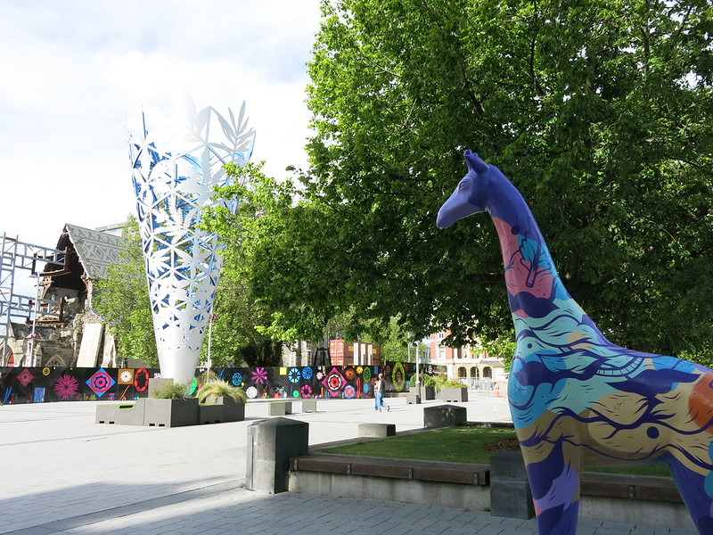 Christchurch stands tall giraffe - Cathedral Square