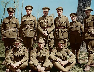 """This one took a while to restore but these fellows deserve it. The Monchy 9. These Royal Newfoundland Regiment soldiers are known for saving the village of Monchy-le-Preux, in April 1917. For four hours these resolute men """"represented all that stood direc"""