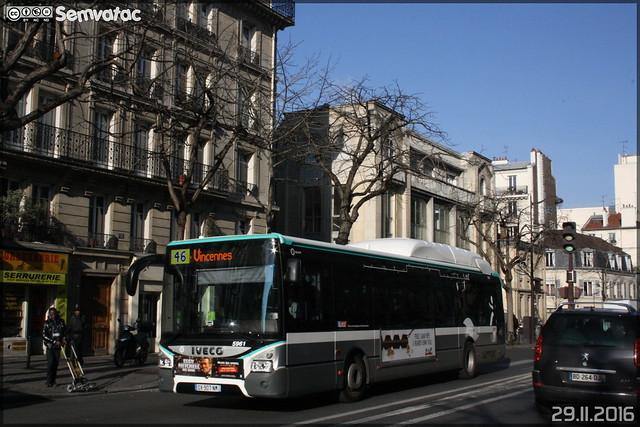 Iveco Bus Urbanway 12 Hybride - RATP (Régie Autonome des Transports Parisiens) / STIF (Syndicat des Transports d'Île-de-France) n°5961