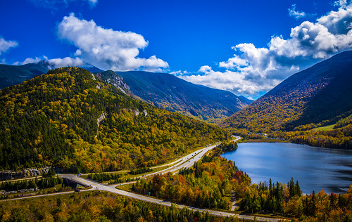 new autumn sunset england white mountain lake mountains fall lafayette echo nh franconia hampshire foliage cannon notch