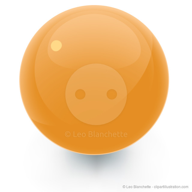 Orange Glossy Sphere with Shadow
