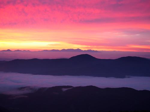 mountain japan sunrise 山 雲海 乗鞍岳