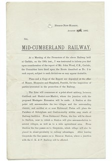 Mid Cumberland Railway Letter to shareholders regarding proposed route No.2 1882 | by ian.dinmore