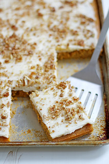 Butternut-Pumpkin Spice Sheet Cake with Bourbon-Vanilla Cream Cheese Frosting   girlversusdough.com @stephmwise   by girlversusdough