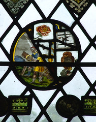 fragments, clockwise from bottom left: Christ nailed to the cross, rose, raven bringing bread to Elijah? and owl