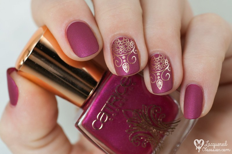 Catrice - Berry British & Poetic Pink + stamping | Unique Squoval Nail Designs For A More Sophisticated Look