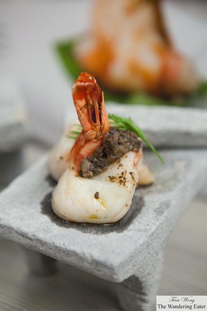 Shrimp ravioli (butterflied U10 Shrimp) filled with salted portobello mushroom
