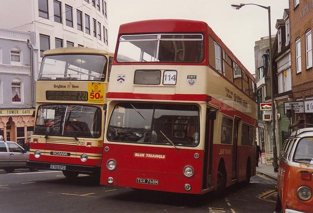 DMS768 Blue Triangle TGX768M Daimler Fleetline CRG6LXB Park Royal ex Grimsby Cleethorpes, London Buses. Dyke Road Brighton March, 1994.