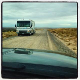 Traffic jam on NM State Road 7950. #airstream #airstreamdc2cali #vintageairstream