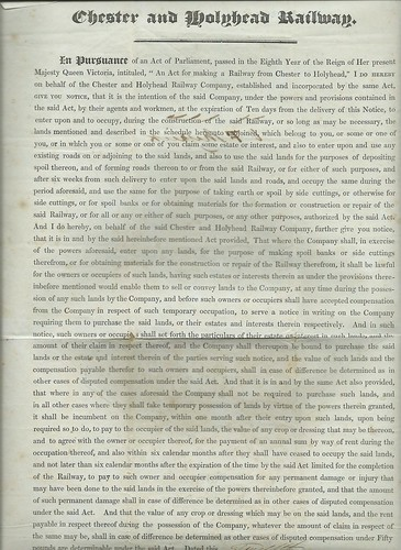 Chester and Holyhead Railway Notice to Treat 1846 | by ian.dinmore